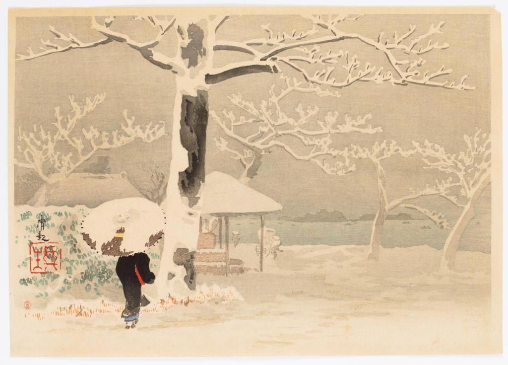 Femme de dos dans un paysage de neige KOBAYASHI Kiyochika © RMN-Grand Palais (MNAAG, Paris) / Thierry Ollivier